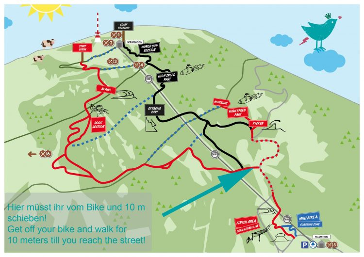 ...besagte Stelle befindet sich knapp vor der Zieleinfahrt... ...you have to walk right before entering the finish area in the lower third of our trails...
